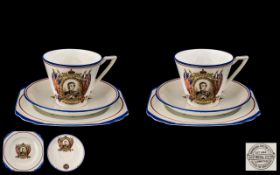 An Art Deco Vogue or Mode Designed Trios in electric blues made for Edward VIII Coronation. Marked