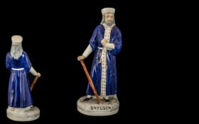 Staffordshire Scarce Mid 19th Century Hand Painted Figure ' Shylock ' Blue Robe.