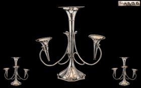 Art Nouveau Large and Impressive Sterling Silver - Sinuous Tulip Design 4 Branch Epergne / Center