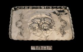 Art Nouveau - Good Quality Sterling Silver Embossed Hand Tray with Embossed Images of Winged