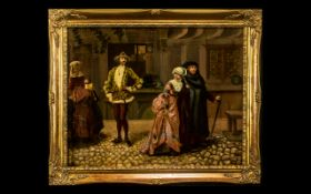 Oil on Canvas Painting by Eugene Y, of an interior scene, in the corridor of an important building,