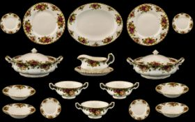"""Royal Albert 'Old Country Roses' Dinner Service comprising 8 x 10"""" dinner plates; 8 x 8"""" plates;"""