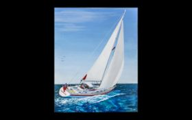 Modern Oil on Canvas Seascape of Red Herring sail boat, signed by Paul Harding 09.