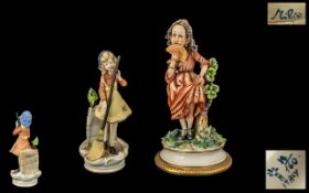 Capo-di-Monte Handpainted and Signed Porcelain Figures (2) both signed by Arma Del Milo. 1.
