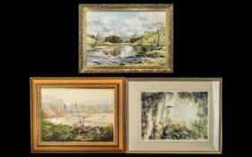 Collection of Three Paintings comprising a watercolour 'Secluded Lane' by June Brown,