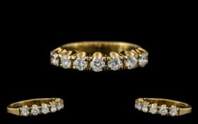 18ct Gold - Top Quality and Attractive Seven Stone Diamond Set Ring, Marked with Full Hallmark 750 -