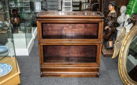 Globe Wernicke Two Tier Red Walnut Library Bookcase,