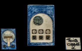 Troika 1960s Signed Slab Shaped Vase, 'Aztec' design, signed Troika, Cornwall plus monogram (see