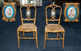 Pair of French Antique Beechwood Salon Chairs with Bergere seats on turned spindle shaped legs,