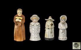 Royal Worcester Small Collection of Hand Painted Porcelain Figural Candle Snuffers ( 4 ) In Total.