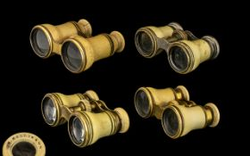 A Small Collection of Antique Period - Pairs of Ivorine Cased Opera Glasses ( 4 ) Four Pairs In