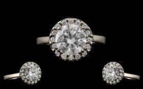 Ladies - Superb Quality Platinum Diamond Set Halo Design Dress Ring.