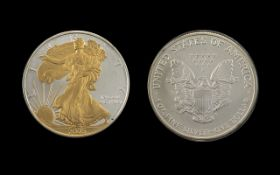 United States of America Liberty Silver Dollar ' 24 ct Gold Plated Liberty ' Date 2005.