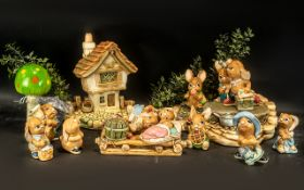 Collection of Pendelfin Figures, including Cobble Cottage; and figures comprising Birdie, Jim-Lad,