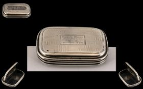 Victorian Period Good Quality Sterling Silver Combined Snuff Box - Vesta Case of Rectangular Form