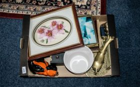 Box of Mixed Collectibles, including a framed floral ceramic picture, a white pot planter, a vintage