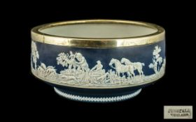 Wedgwood Bowl Blue Jasperware depicting a hunting scene, with marks to base 'Adams' Tunstall,