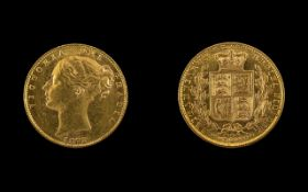 Queen Victoria 22ct Gold Young Head Shield Back Full Sovereign- Date 1872. London Mint, Die No 24.