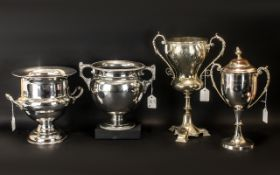 Collection Of Four EPNS Engraved Bowling Trophies Two In The Shape Of Wine Coolers & Two Cups,