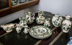 A Collection of Masons Patent Ironstone Pottery 'Chartreuse' Design 13) pieces in total.