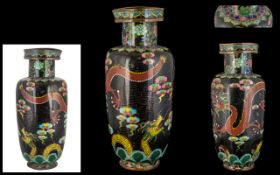 An Antique Chinese Cloisonne Vase - Meiji Period - Depicting Dragons And Clouds, Height 11.