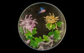 Chinese Cloisonne Enamel Plate decorated with flowers; 12 inches in diameter