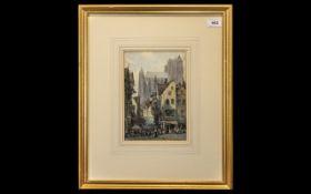 Watercolour by James W Milliken, born Liverpool (1887-1930), depicting a street in Abbeyville,