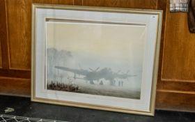 Aviation Interest - Framed Print titled 'Off Duty, Lancaster at Rest'. Mounted and framed behind