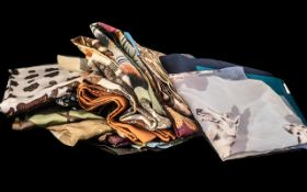 Collection of Vintage Ladies Scarves comprising Norma Dori horse printed scarf in cream and brown,