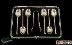 1920's Excellent Boxed Set of Six Sterling Silver Tea Spoons + Matching Pair of Sugar Nips.