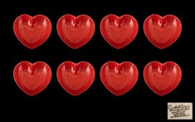 Carltonware Red Heart Shaped Dishes a set of eight dishes in total. Trade mark to base. 9 cm in