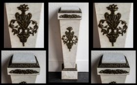 A Fine Quality White Marble 19th Century French Ormolu Mounted Pedestal Stand of elegant tapering