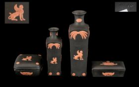 """Four Pieces of Wedgwood Black and Terracotta Egyptian Jasperware comprising Lidded Trinket Box 3"""""""
