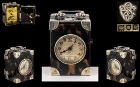Aspreys 166 New Bond Street London - Superb Key-Wind Miniature Tortoiseshell Carriage Clock.