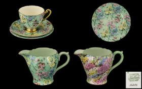 Shelley Chintz Rock Garden and Melody Design Cup Saucer and Side Plate and Two Milk Jugs