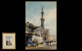 Conrad Hector Rafaele Carelli 1869-1956 Egyptian Town Street Scene with figures, watercolour