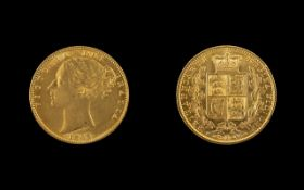 Queen Victoria 22ct Gold - Young Head / Shield Back Full Sovereign - Date 1863.