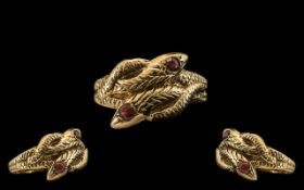 9ct Gold - Twin Coiled Snake Designed Dress Ring.