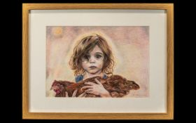 Watercolour by P J McInnes, dated 2016, depicting a young girl carrying her favourite chicken,