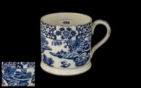 Large Staffordshire Pottery Farmer's Ale Cup with blue printed 'Willow Pattern' design,