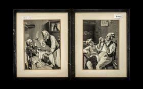 Pair of Late 19th Century German Printed Silk Pictures depicting 'Grandad and Grandma'; mounted,