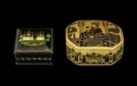 Two Paper Mache Lidded Boxes, One Russian Signed In Cyrillic The Other From Kashmir, Largest 3.