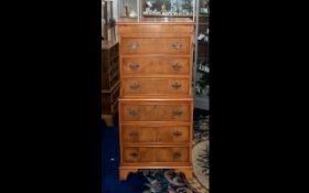 Reproduction Yew Wood Miniature Chest on Chest with shaped brass backplate drop handles and