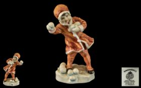 Royal Worcester Hand Painted Porcelain Figurine ' Snowball ' Orange Coat with White Trim,