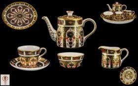 Royal Crown Derby - Superb Imari Pattern 22ct Gold Banded ( 6 ) Piece Miniature Bachelors Tea