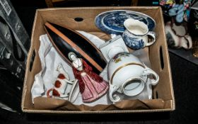 Box of Assorted Pottery & China all as found, comprising: Coalport 'Anne of Cleeves' figure 8''