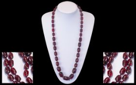 Early 20th Century Wonderful Quality - Natural Cherry Amber Graduated Beaded Necklace of Barrel