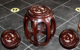 Chinese Rosewood Barrel Shaped Stool,