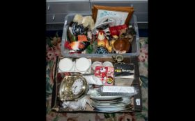 Two Boxes of Porcelain, Pottery & Collectibles comprising a Portmerion Kellogs Lidded Sugar Bowl,
