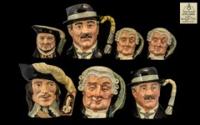 Collection of Seven Royal Doulton Character Jugs to include The Lawyer D6498;